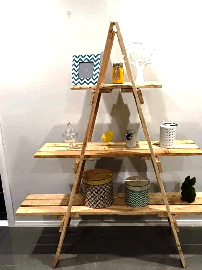 #18. CREATING A SHELVING UNIT OUT OF A WOODEN LADDER AND PALLET WOOD