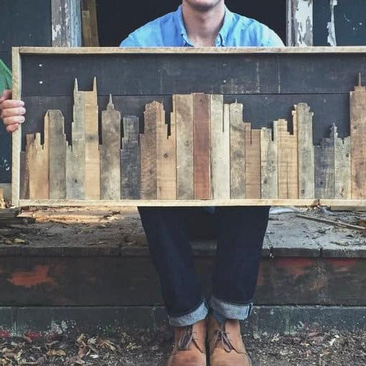 #69. PALLET WOOD CITYSCAPE WALL ART