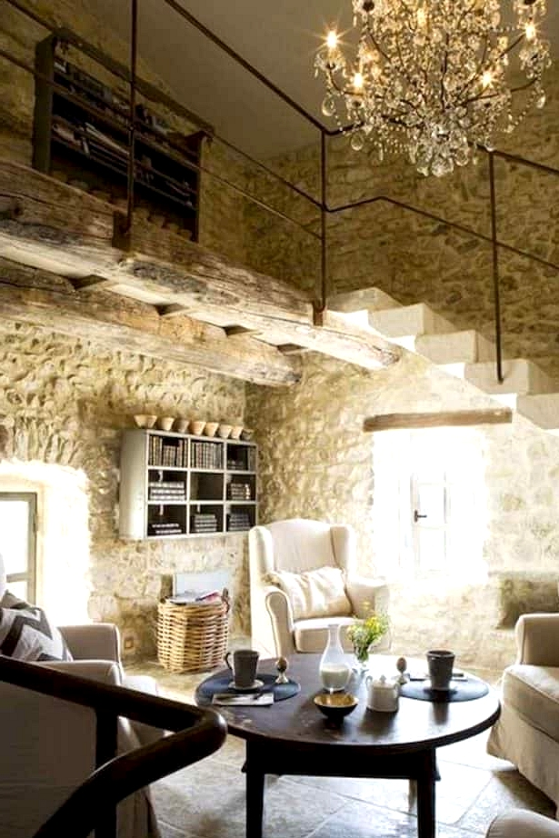 A French Living Room Under the Stairs