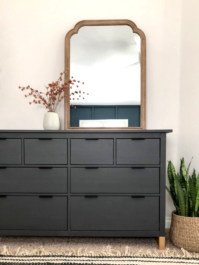 IKEA hack using chalk paint for an updated bedroom dresser