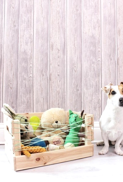 An IKEA hack your dog will love! store their toys in an open crate like this!