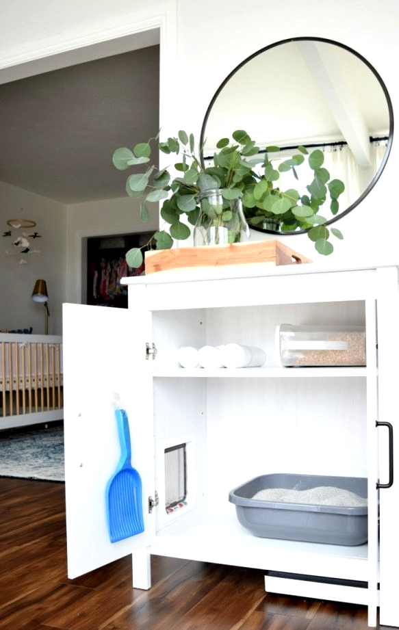 One of the best IKEA hacks for pets had to be this IKEA Storage cabinet turned Cat litter box!