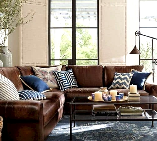 Navy Pairs Beautifully With Brown Couches