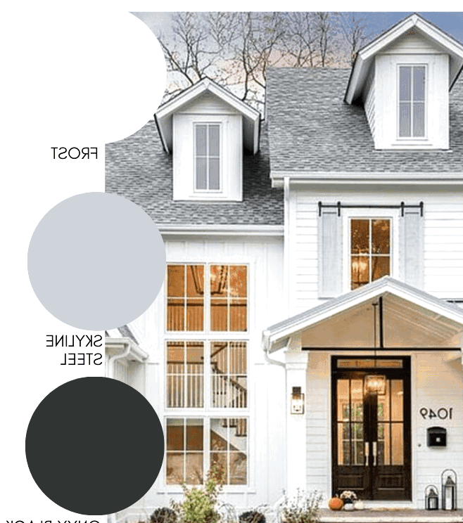 white modern farmhouse exterior paint with light grey farmhouse window shutters