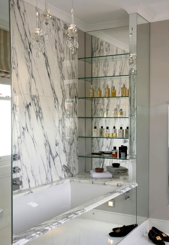 Add Glass Shelves Above a Bathtub
