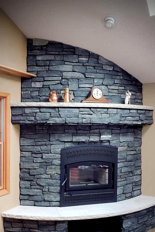 Elegant Thin Veneer Stone Corner Fireplace