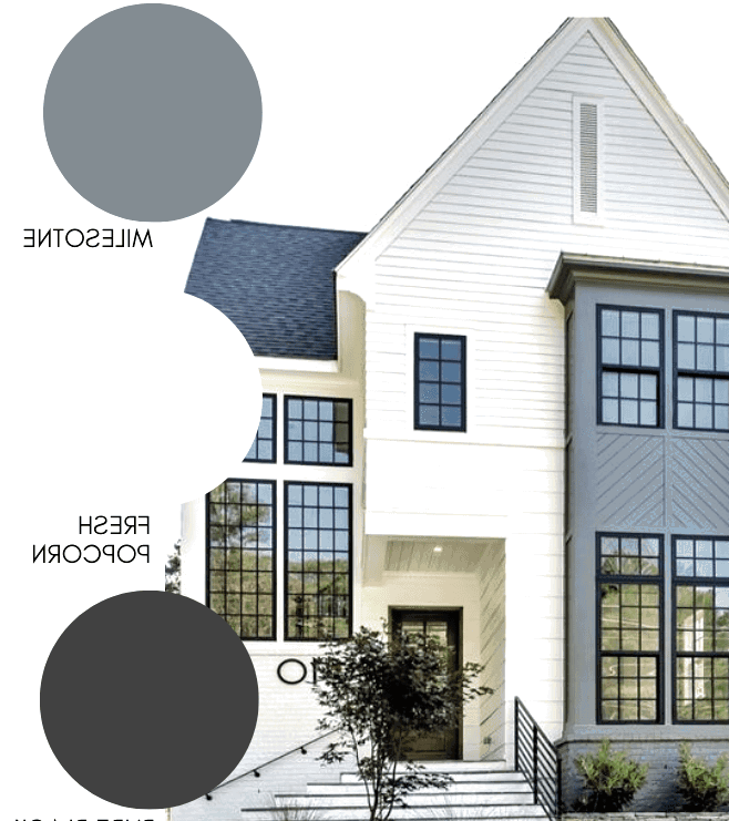 A Modern Farmhouse Exterior with light beige paint and grey accents.