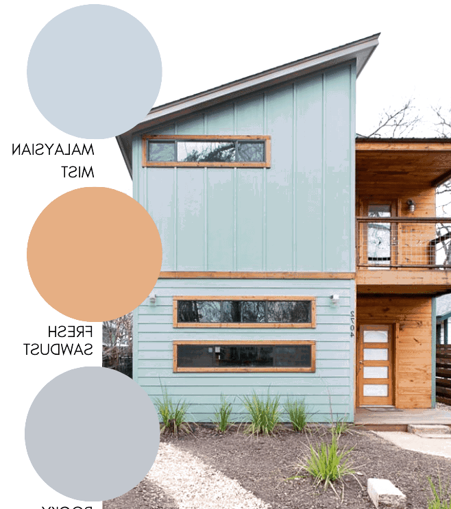Modern exterior paint color with a mid century color combination
