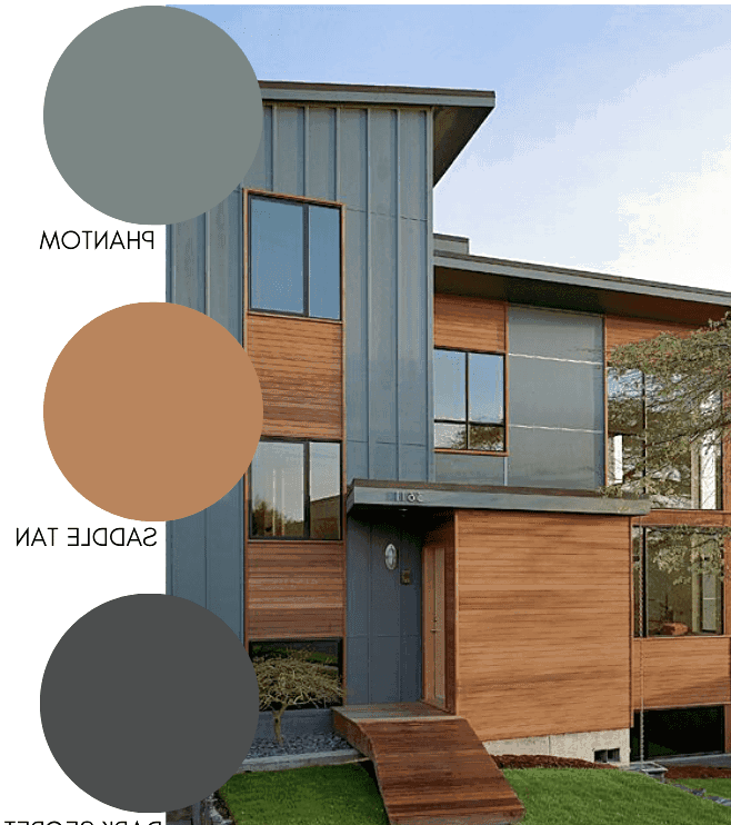 Modern home exterior with natural wood and green grey paint combination