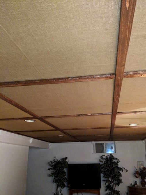 Try a Neat Burlap Ceiling