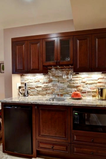 Go Rustic with Warm Wood and Stone Backsplash