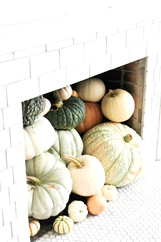 Chic Fall Home Decor Fireplace Full of Pumpkins