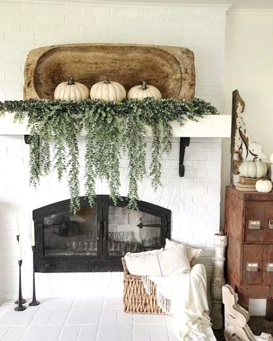 chic fall home decor with white pumpkins and fresh greenery