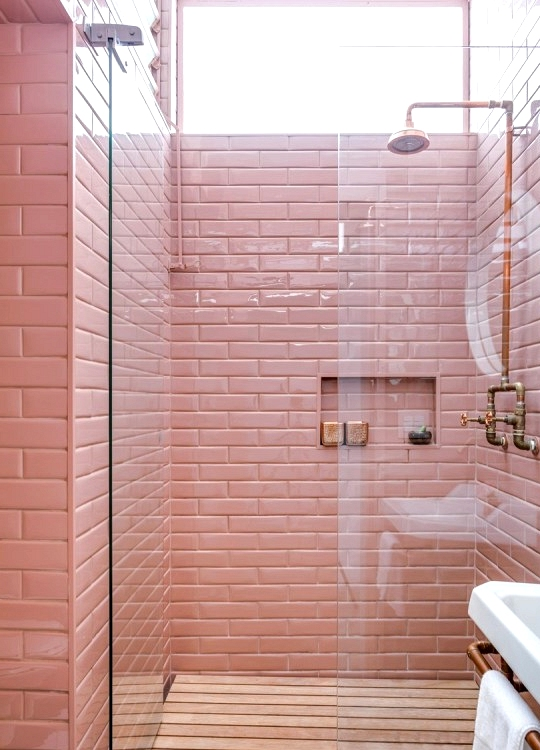 Pink Shower tile with copper and natural wood