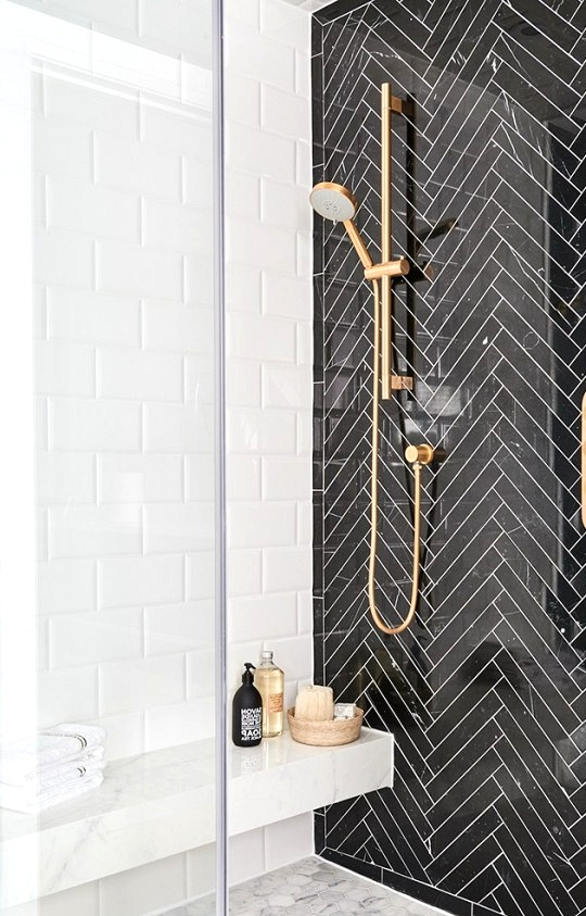 Black Marble shower with white accents