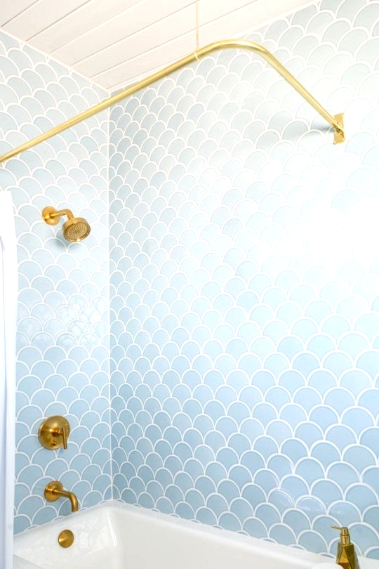 Light blue fish scale shower tile