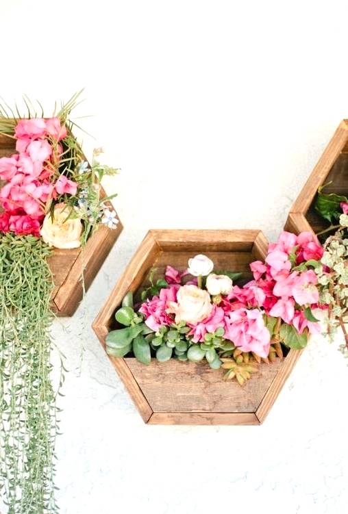 DIY outdoor decor shelf/ hexagon wall planter