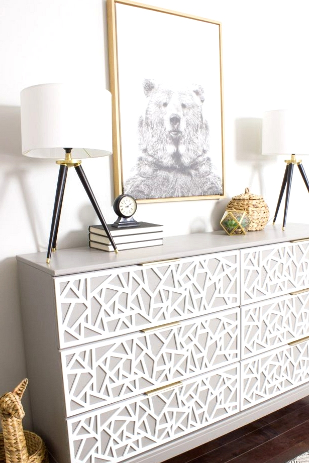A wood overlay pattern completely transforms this IKEA dresser. Awesome hack!