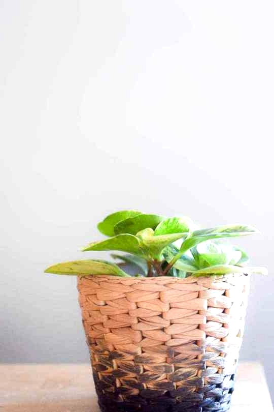 IKEA Hack DIY obmre finish on a wicker pot