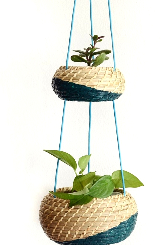 IKEA Hack making a hanging planter out of storage baskets