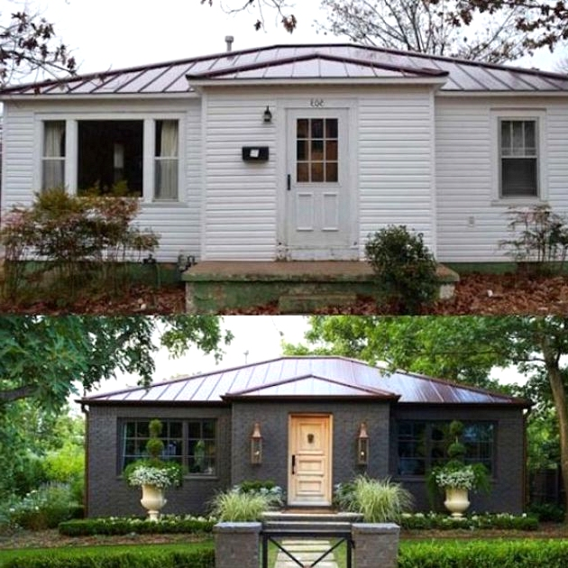 Charcoal brick before and after exterior home remodel