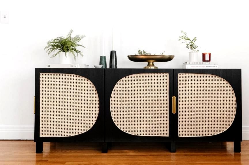 This boho cabinet is actually an IKEA hack! Create your own boho furniture with these Great IKEA hacks using cane!