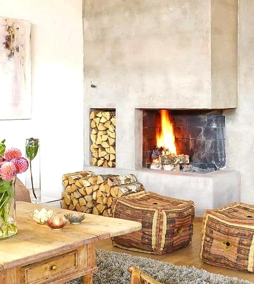 A Concrete Fireplace