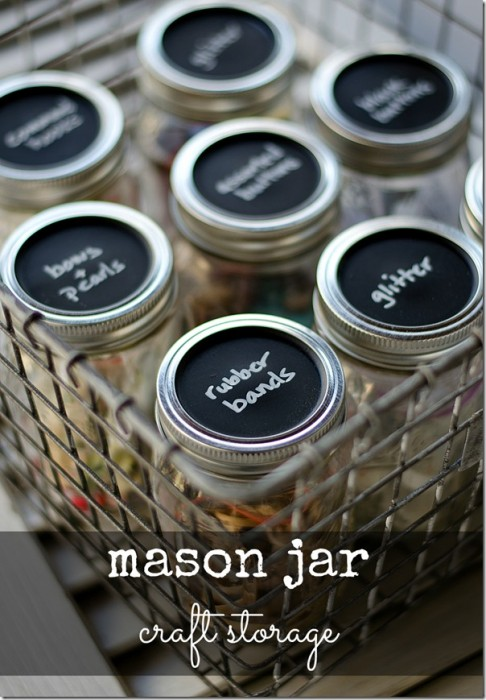 Chalkboard Painted Mason Jar Storage Lids