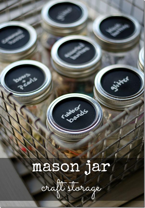 Beau Chalkboard Painted Mason Jar Storage Lids
