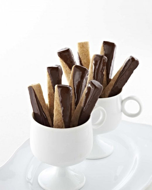 Chocolate Dipped Shortbread Cookie Sticks