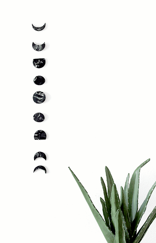 Marbled polymer clay moon phase DIY wall hanging