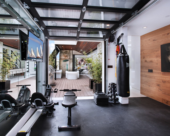 Glass Garage Door Gym Area