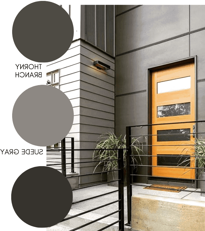 Dark and sophisticated modern exterior paint colors in a grey color scheme.