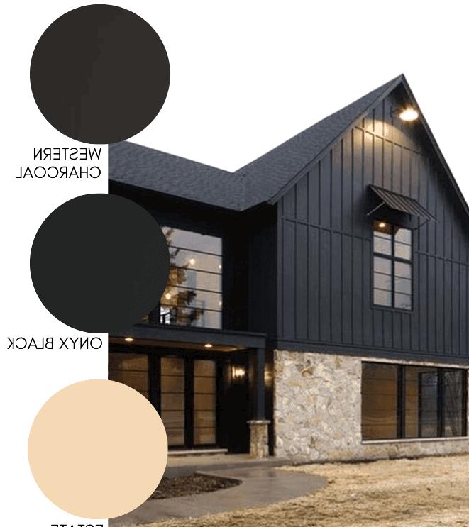 Black on black modern farmhouse exterior paint colors