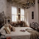 Traditional Bedroom with Brick Interior