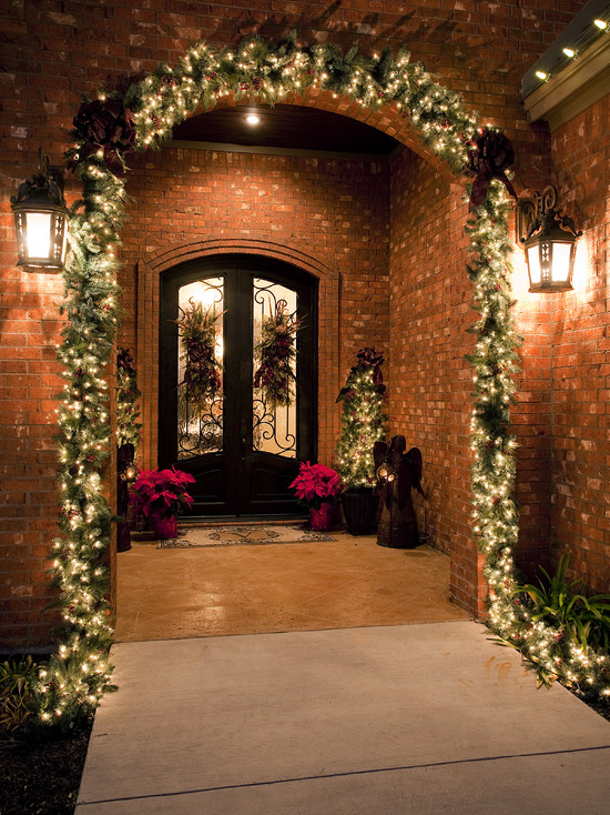 Traditional Front Porch for Christmas Design Idea