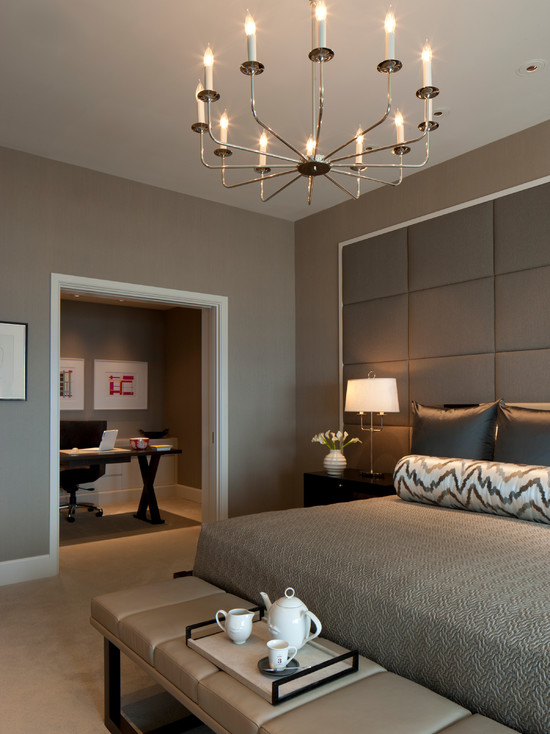 Contemporary Bedroom with office