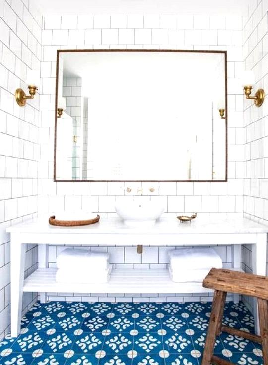 Bright Blue Patterned Tile Fooring