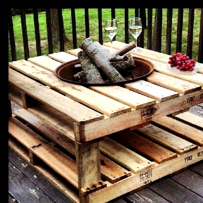 #85. OUTDOOR'S COFFEE TABLE WITH BUILT IN FIRE-PIT