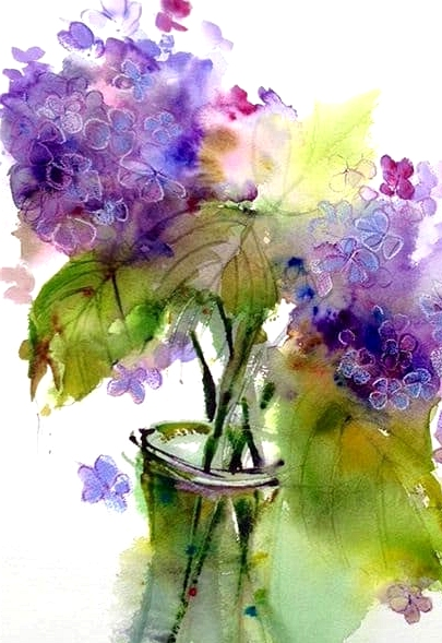 watercolor lilac canvas painting