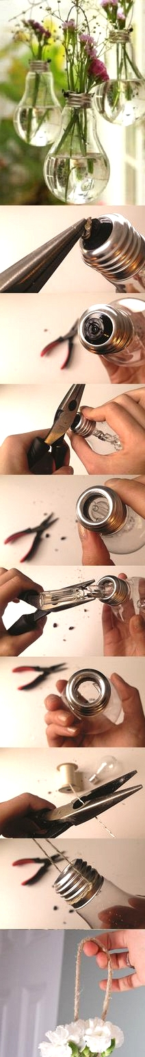 how to make a hanging lightbulb planter