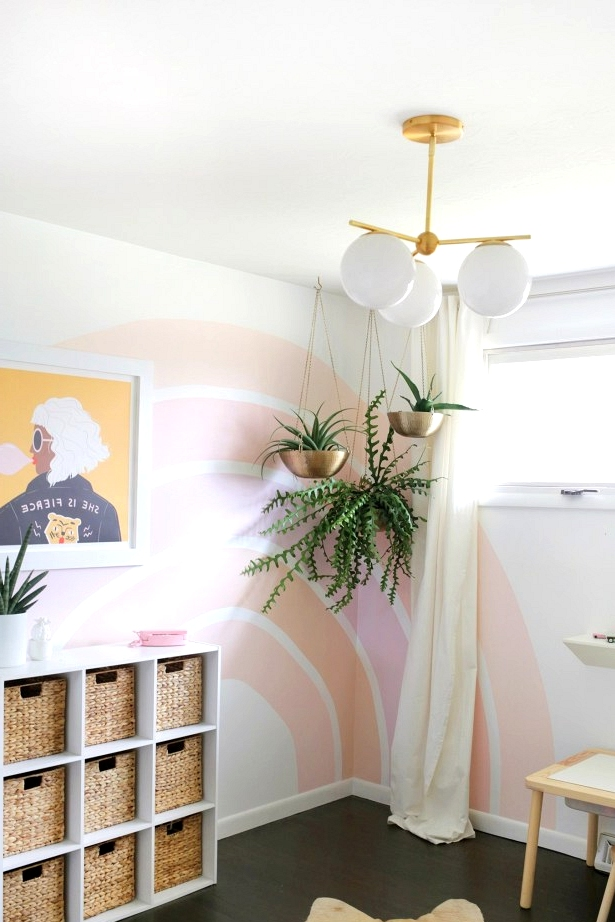 Bright and colorful rainbow accent wall idea