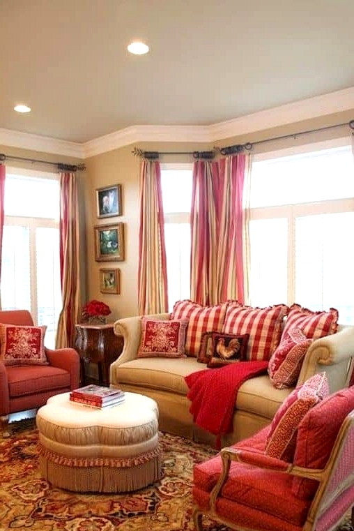 An Adorably Red and White Living Room
