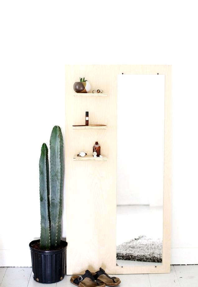 DIY modern floor plywood mirror