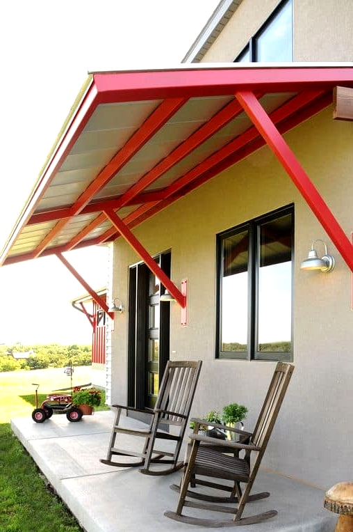 Concrete Slab with Steel Awning for Porch Roof