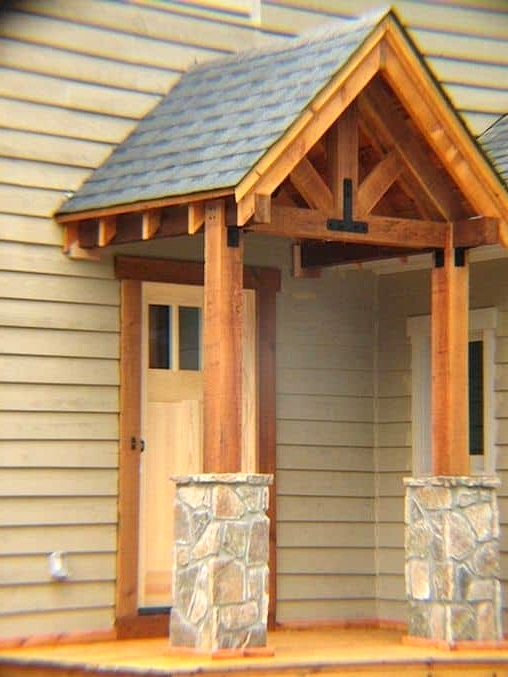 Slate Porch Roof over a Wooden Structure