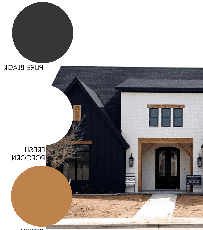 Color blocking is a major trend in home exteriors right now, just like this gorgeous modern farmhouse