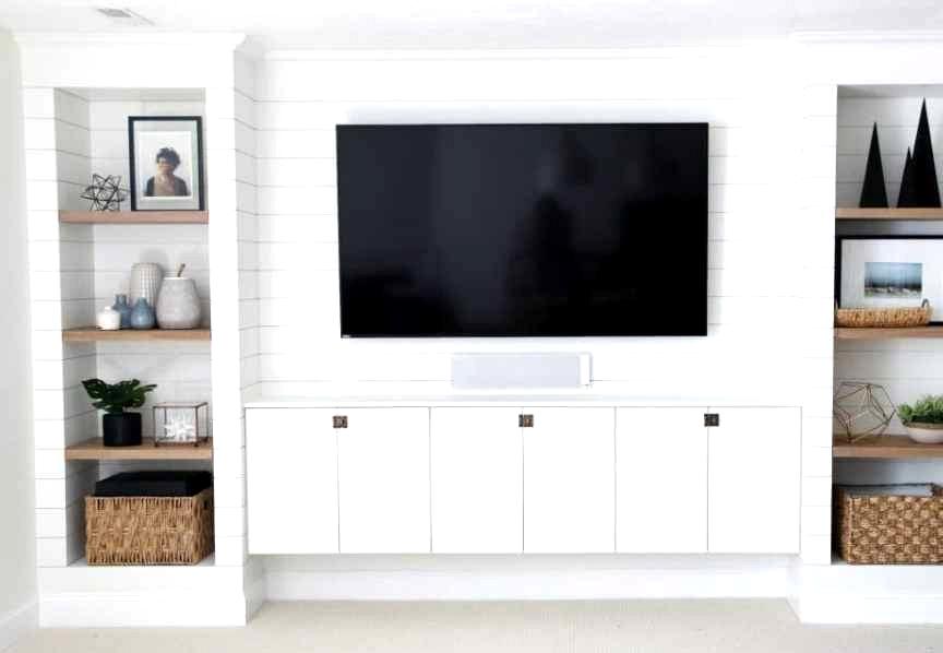 DIY shiplap media room built ins from IKEA