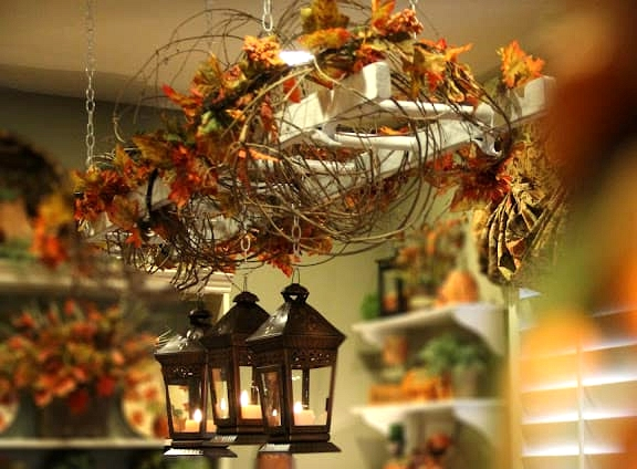 Wrap a Hanging Ladder with Vines and Leaves