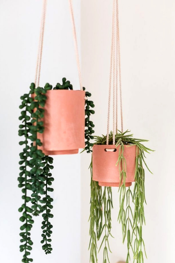 Terracotta air dry clay hanging pots. perfect for drooping plants.